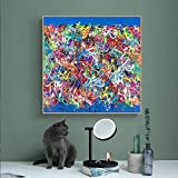 ganlanshu Arte de la Pared Pintura Animal Lienzo Pintura Retrato Cartel Pared Graffiti Jirafa Sala de Estar decoración,Pintura sin marco-70X70cm