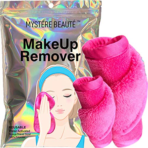 MYSTERE BEAUTE Makeup Eraser Cloth - Chemical Free, Microfiber Face Makeup Remover Towel - Reusable, for Removing Makeup, Dirt & Oil - for All Skin Types - Great Gift - 2 Count Including 1 Travel Size - toalla desmaquillante