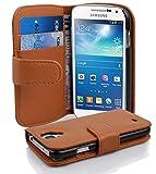 Cadorabo Hülle für Samsung Galaxy S4 Mini in Cognac BRAUN – Handyhülle aus Strukturiertem Kunstleder mit Standfunktion & Kartenfach – Hülle Cover Schutzhülle Etui Tasche Book Klapp Style