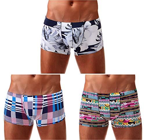 Arjen Kroos Herren Boxershorts Unterwäsche für Männer Men Sexy Boxer Shorts Briefs mit Muster Trunk Retroshorts Retropants Unterhosen Hipster, Mehrfarbig (3er Pack), L(80-88cm)