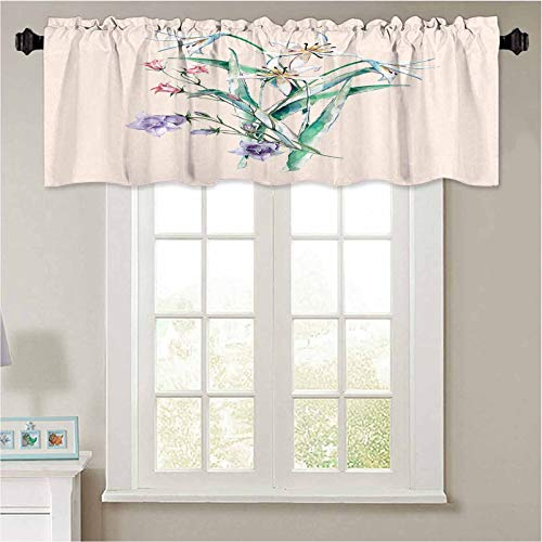YUAZHOQI Print Farmhouse Valance Watercolor Forest Flowers Delicate Bouquet of Lilies and Bell Flowers Beige Version Window Curtains for Kitchen and Bathroom 50' W x 18' L