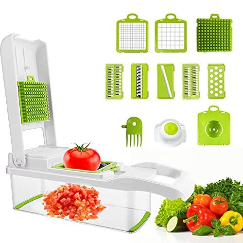 Toskope 12 in 1 Mandolina per Verdure,Tagliaverdure da Cucina con 6 Lame Regolabili, Utensile Taglia Verdure per Affettare e Tagliare la Verdura
