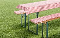 Kit 3pièces pour bancs et table de brasserie style fête de la bière. En vichy rouge, vert, bleu. Compatible avec des tables de dimensions différentes. 1nappe et 2coussins de banc de brasserie avec liens élastiques. Tissu haute qualité en 70% polye...