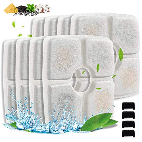 Comsmart Pet Fountain Filter Set, 8 Pack 3 Triple Filtration System Replacement Cat Water Fountain Filters & 4 Pre-Filter Sponges for 84oz/2.5L Automatic Pet Fountain Cat Water Fountain