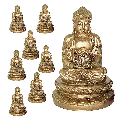 Feng Shui Meditating Buddha Figurines Peace Luck Prosperity Statues Paperweights Gift Home Decor Housewarming Gift India Buddha (8 Gold)