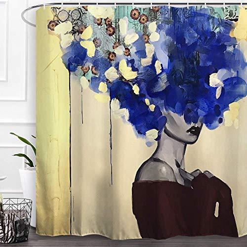 N \ A Cortina de ducha decorativa de tela de poliéster con ganchos, impermeable, resistente al moho, 60 pulgadas de ancho x 72 pulgadas de alto (150 cm x 180 cm) - pelo azul niña