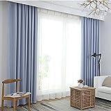 La cortina del apagón Muy suave sólido aislado termal superior del anillo decorativo oscurecimiento Cortina con ojales para sala de estar dormitorio del sitio del cuarto 1 piezas,Azul,150X230cm