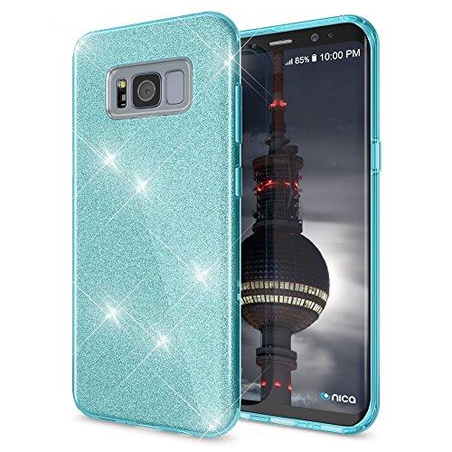 NALIA Custodia compatibile con Samsung Galaxy S8, Glitter Copertura in Silicone Protezione Sottile Cellulare, Slim Cover Case Protettiva Scintillio Smartphone Telefono Bumper, Colore:Turchese
