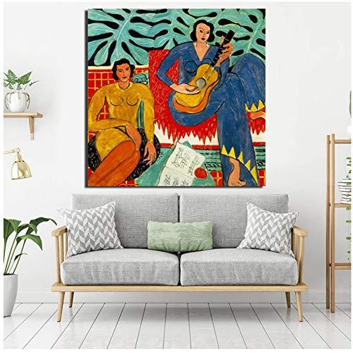 ASLKUYT Matisse Music Poster Vintage Wall Art Canvas Painting Posters Impresiones Pintura moderna Cuadro de pared para sala de estar Decoración para el hogar Art-24x24 IN Sin marco