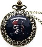 EURYTKS Reloj de Bolsillo Punk Skull Colgante Reloj Death Design Reloj de Bolsillo Biker Skull Charm Jewelry Estilo gótico Reloj de Cuarzo
