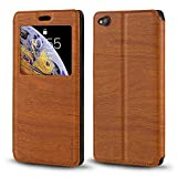 ZTE Nubia N2 Case, Wood Grain Leather Case with Card Holder