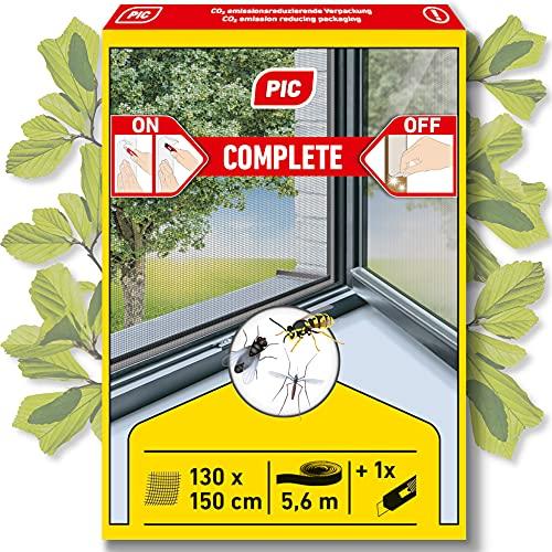 PIC zanzariera finestra - 130 cm x 150 cm - zanzariera con velcro autoadesivo - zanzariera senza foratura