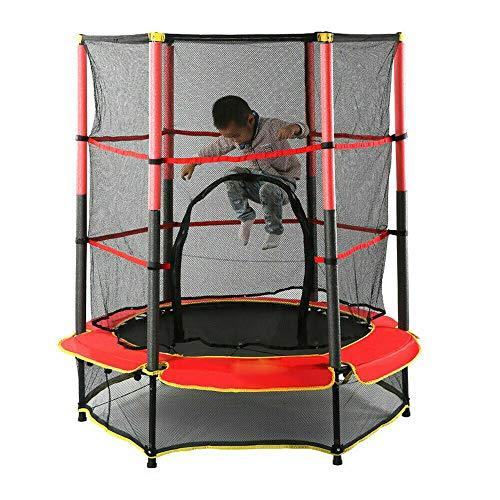 Cama elástica para niños con red de seguridad, minicama elástica para exteriores con marco fuerte, cojín de seguridad, esterilla de saltar para niños