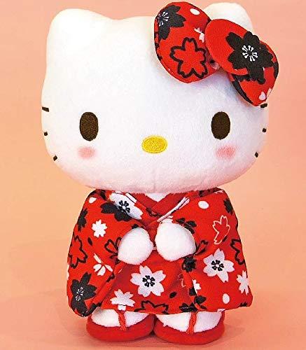 Hello Kitty Sakura Red standing S size Stuffed toy