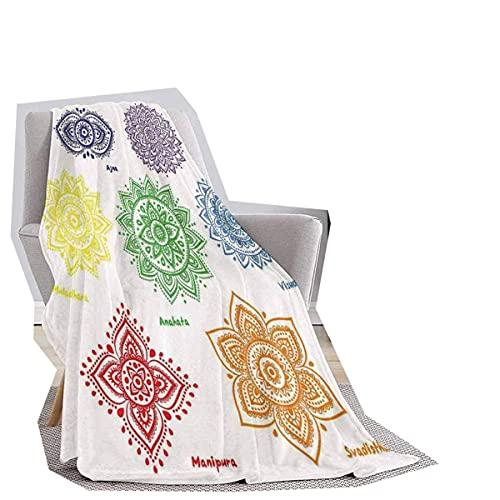 Manta suave con diseño de flores orientales, diseño de círculo, con hojas de laurel, estampado floral renacentista, felpa, elegante manta para sofá silla, verde de 55 x 55 pulgadas