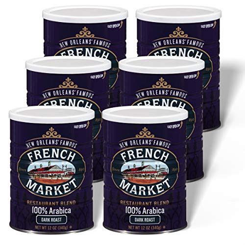 French Market Coffee, Restaurant Blend, Dark Roast Ground Coffee, 12 Ounce Metal Can (Pack of 6)