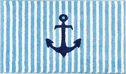 Erwin Müller Badematte, Badteppich maritim hellblau Größe 50x80 cm - flauschig weicher Flor, rutschhemmend, für Fußbodenheizung geeignet (weitere Größen)
