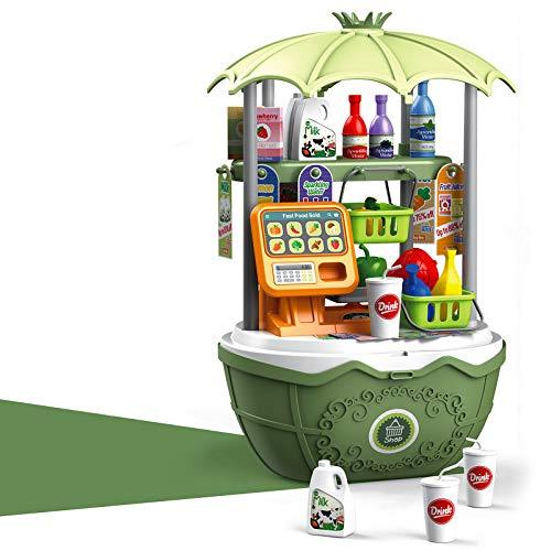 DQTYE Caja de juguete para niños Mini carrito de la compra portátil tienda de comestibles fingir jugar dinero juego cajas de alimentos accesorios para niños niñas