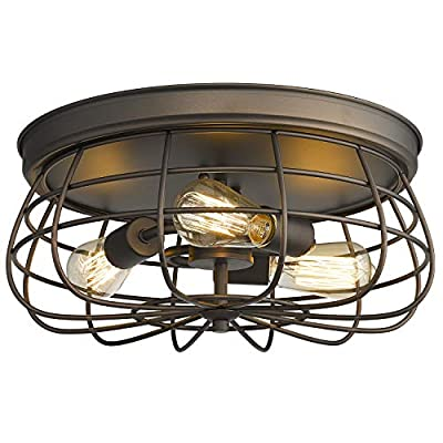Zeyu 3-Light Flush Mount Ceiling Light, 15 inch Ceiling Light Fixture, Oil Rubbed Bronze and Metal Cage Shade, ZY16-F ORB