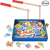 Magnetic Wooden Fishing Toy Set - Fishing Game Lets Go Fishing Toy Game 32Piece Fishes Basic Educational Development Wooden Magnetic Bath Fishing Travel Table Toy Halloween Christmas Birthday Gift