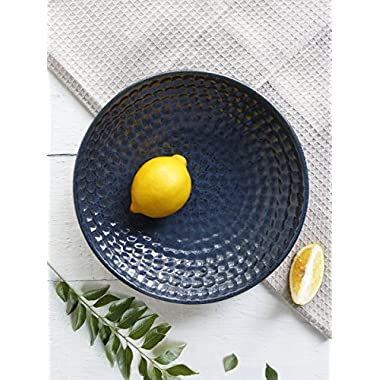 Ceramic Serving Noodle Soup Bowl Platter Diamond Design Round Shaped Handcrafted Kitchen Dining Accessory Serveware (Blue)