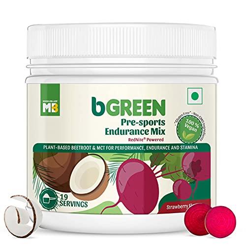 bGREEN by Muscleblaze PreSports Endurance Mix, Pre Workout Supplement, 19 Servings, 100% Vegan, Gluten Free, Beetroot Powder & MCT Performance Blend With RedNite For Performance, Endurance & Stamina (Strawberry, 250 g)