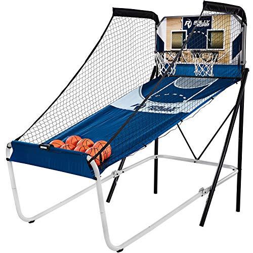 Rally and Roar Premium Home Dual Shot Basketball Arcade Game, 7 Basketballs, Indoor - Foldable Space Saver
