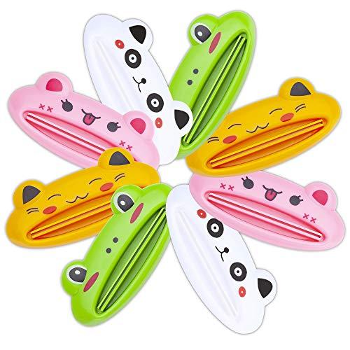 YEIO Toothpaste Tube Squeezer - 8 Pack Colors Animal Toothpaste Clip, Toothpaste Squeeze roll, Tube Squeezer Tool Dispenser