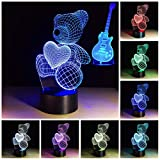 Cute Bear 3D Night Light Toddler Night Light Two Pattern Guitar/Teddy Bear Heart 7 Color Change Decor Lamp Desk Table Night Light Lamp for Kids Children Girls Boys (Teddy Bear+Guitar)