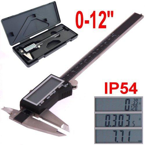 """iGaging EZ CAL IP54 0-12"""" Super Large LCD Display Digital Caliper"""
