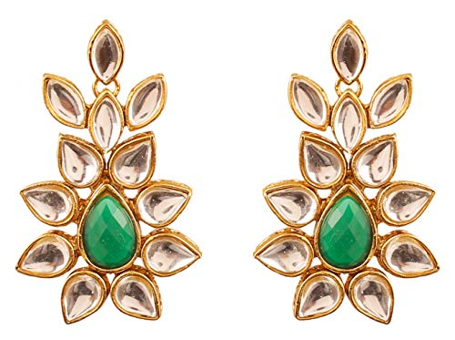 Touchstone Indian Bollywood Classical Royal Mughal era Inspired Kundan polki Look Green Faux Emerald Bridal Designer Jewelry Chandelier Earrings for Women in Antique Gold Tone