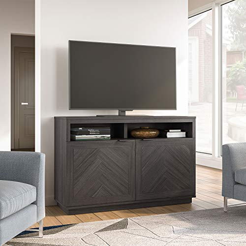 "Flawless and Modern Style TV Stand with a Herringbone Pattern for TVs up to 55"" Cabinet, Bookcase in Gray"