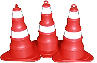 Multi-Functional Traffic Cone Silicone Tripod Road Cone Collapsible Reflective Ice Cream Bucket Traffic Safety Facilities Safety (Color : 3 Packs)