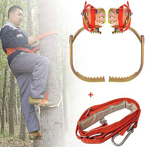 WHR-HARP Tree Climbing Spike Set, Baumsteigeisen Kletterhilfen Forstzubehör Klettern Bäume Artefakt 2 Gänge Baumklettern Spike Set Sicherheitsgurt Verstellbar Lanyard Rope Rescue Belt,500type