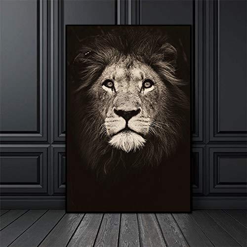 Cuadro en lienzo de animales, blanco y negro, diseño de cebra, elefante, cabeza de león, pintura de pared para decoración moderna del hogar (40 x 50 cm, MD4829)