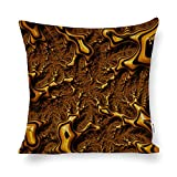 Trippy Fractal Art Chocolate Pudding Abstract Cotton Linen Blend Throw Pillow Covers Case Cushion Pillowcase with Hidden Zipper Closure for Sofa Bench Bed Home Decor 16'x16'
