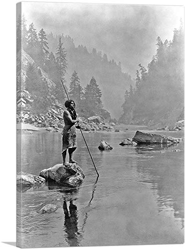 ARTCANVAS Hupa Man with Spear Standing On a Rock Midstream Canvas Art Print by Edward S. Curtis - 40' x 26' (0.75' Deep)