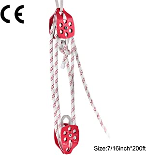Double Sheave Pulley 30-35KN with Braid Rope 0.43'' - 0.5'' 200-250Ft, Aluminum Twin Sheave Block and Tackle Rescue Rope Pulley Capture System Rigging Hauling Arborist Tree Climbing