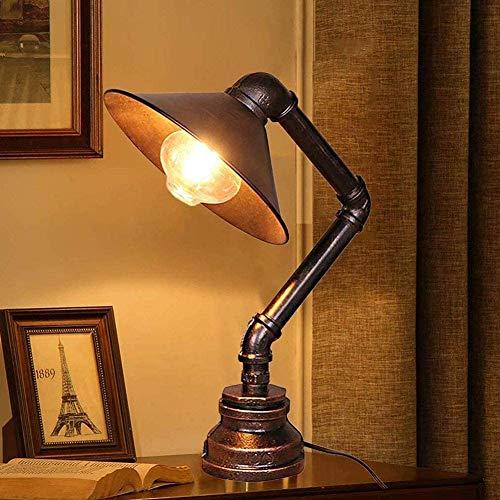 Lámpara de mesa de tubo de agua - Motent Rust Iron Lámpara de mesa industrial Lámpara de escritorio de metal Steampunk antigua Lámpara de lectura de cabecera Accesorio de iluminación