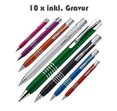 Crisma 10 Stück Exklusive Kugelschreiber aus Metall inkl. Gravur mit blauer Großraummine (alle mit gleicher Gravur) (grau)