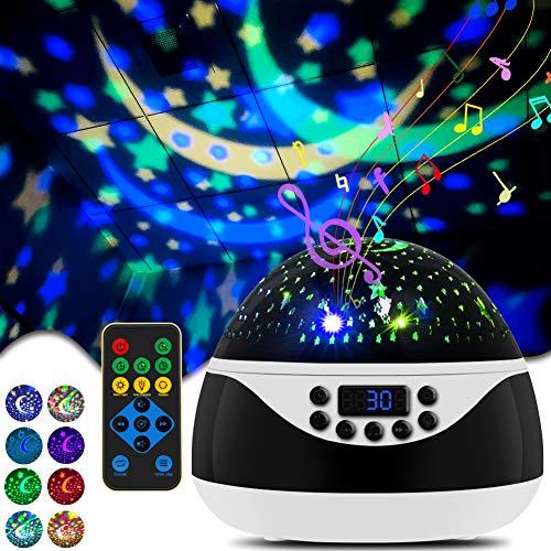 Lampada Proiettore per Bambini, CrazyFire 360° Rotazione Musicale Proiettore Lampada con lo Schermo a Led e Telecomando, 8 Modalità Romantica Luce Notturna per Neonati, Bambini