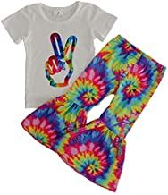 Baby Toddler Girl Tie Dye Design Bell Bottoms Pants Clothing Set Boutique Girl Outfits White