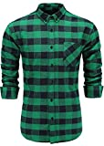 Emiqude Men's Flannel 100% Cotton Slim Fit Long Sleeve Button-Down Plaid Dress Shirt Small Navy Green