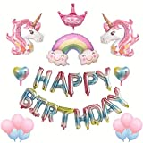 Unicorn Balloons Birthday Party Decorations - 3D Party Supplies Kit, Included Happy Birthday Balloons, Unicorns, Rainbow, Crown, Heart or Five-Pointed Star, Latex Balloons, for Baby Shower with Pump