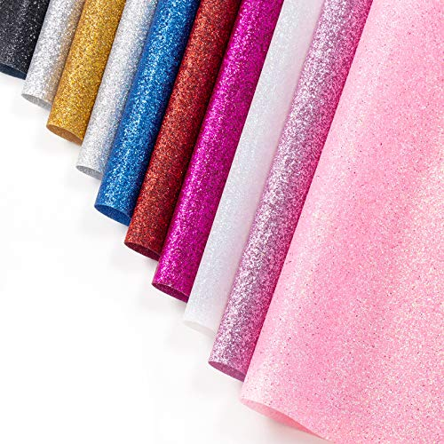 """Heat Transfer Vinyl Sheets Glitter HTV for T-Shirts Iron On Vinyl Starter Assorted Bundle Kit of Heat Press Vinyl in 10 Most Popular Colors 12""""x10"""" for Cricut and Silhouette Cameo Easy to Cut & Press"""