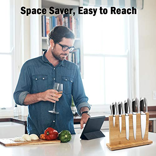 Magnetic Knife Block, Natural Bamboo Knife Holder with Strong Magnets, Double Side Cutlery Display Stand and Storage Rack, Comes in a Gift Box