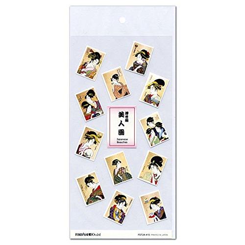 和風紙シール 浮世絵美人画 FST2A-415 透明台紙 福井朝日堂