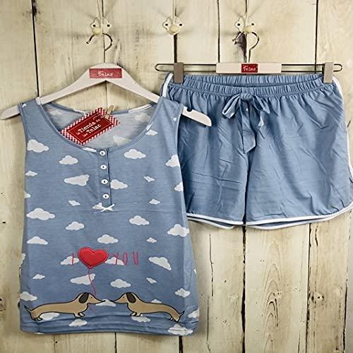 Pijama Mujer Verano Estampado Perro y Nubes Azul Celeste (XXL - Talla 44)