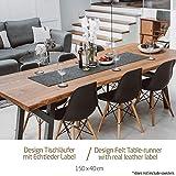 Miqio ® - Design Tischläufer aus Filz abwaschbar | Marken Label aus Echtleder | Tischband 150x40 cm | Skandinavische Deko - passend Tischsets, Platzsets, Tischdecken | dunkel grau - 2