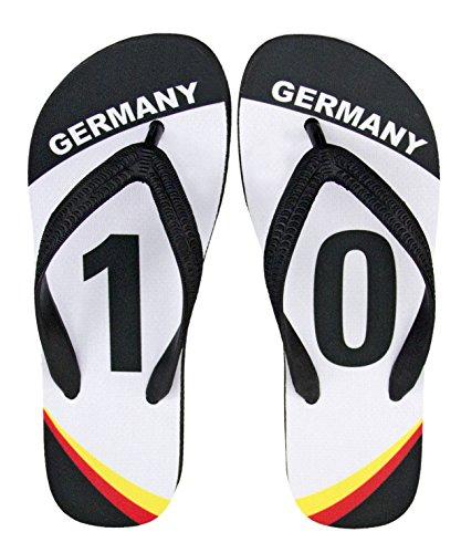 """WM 2018 Deutschland Merchandise Fanartikel Flip Flop Zehentrenner mit Motiv Team Edition no. 10\"""""""